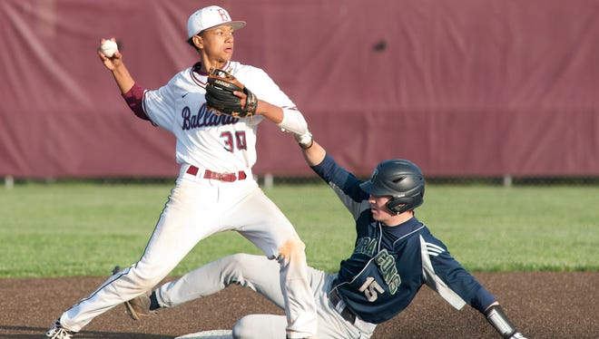 Ballard 2nd baseman Kaelon Harkema gets the force out of South Oldham's Tanner Johnson at 2nd base then throws to 1st  for the double-play attempt.27 April 2017