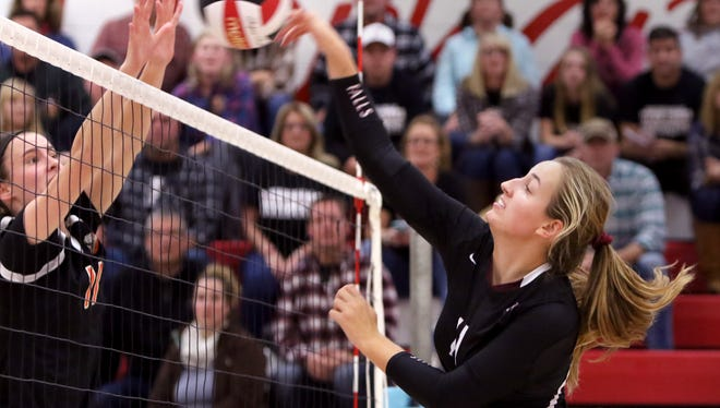 Menomonee Falls' Sarah Navin against Cedarburg during WIAA sectional semi-final play at Arrowead High School on Oct. 26.