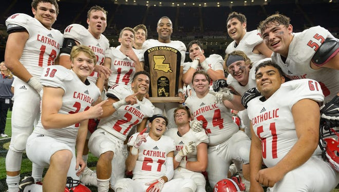 Catholic High of New Iberia  holds off Notre Dame 33-16 to win the Division III state championship game in the Superdome Thursday, Dec. 7, 2017.