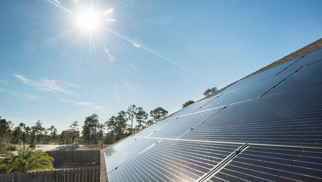 Lynn Bryson-Goodwin recently installed solar panels on her house in Gulf Breeze. The panels are pictured on Tuesday, Jan. 30, 2018.