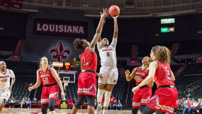 Ty'Reona Doucet takes a shot as the Ragin' Cajuns take on Arkansas State on March 1 at the Cajundome.