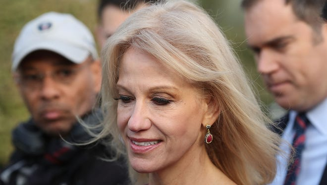 White House counselor Kellyanne Conway speaks to reporters on the White House driveway after doing a television interview, on April 13, 2018 in Washington, D.C.