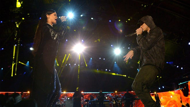"""Rihanna and Eminem perform onstage during """"The Concert For Valor."""""""