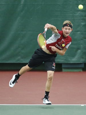 De Pere's Nathan Balthazor has returned to the WIAA Division 1 state tennis tournament after not playing high school tennis last season.