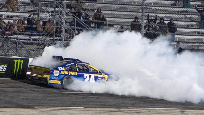 Chase Elliott crashes into the wall during the closing laps of the First Data 500 at Martinsville Speedway.