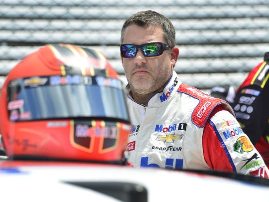 Sprint Cup Series driver Tony Stewart (14) before qualifying for the Brickyard 400 Saturday, July 23, 2016, afternoon at the Indianapolis Motor Speedway.