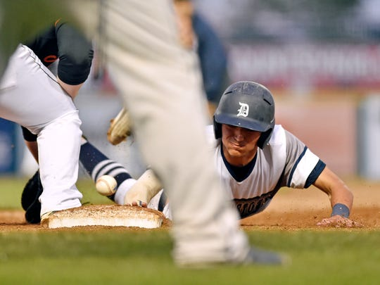 Dallastown's Nick Parker is safe on a pick-off attempt at first base in the third inning of the PIAA Class 6A baseball title game Friday, June 16, 2017, at Medlar Field at Lubrano Park in State College. After a 3.5-hour rain delay and despite outhitting Pennsbury 7-4, Dallastown lost 1-0 in Pennsbury's walk-off win in the seventh inning.