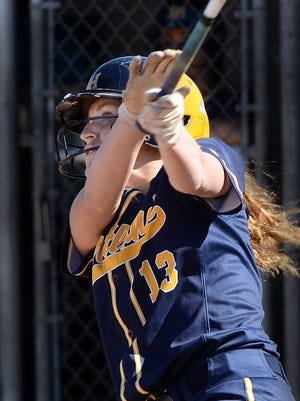 Hartland's Madelin Skene hits a grand slam in the second inning of a 7-6 loss to Lakeland on May 8, 2017.
