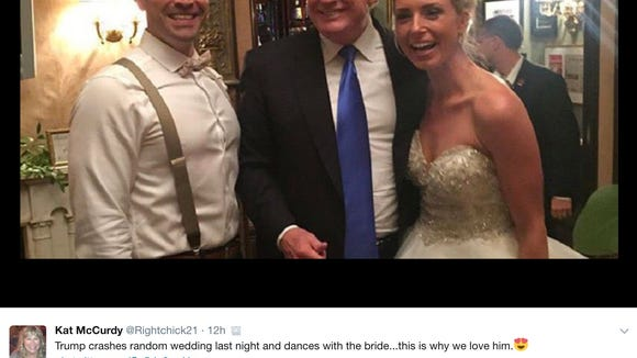 President Trump stopped by a wedding in New Jersey
