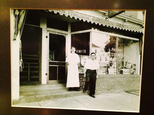 """In this image from 1939, Frank Federici (right) is shown outside his Freehold Borough restaurant with Billy Hope, who was a bartender there. """"At that point, we were not even doing tomato pies,"""" said Mike Federici, who owns the restaurant today."""