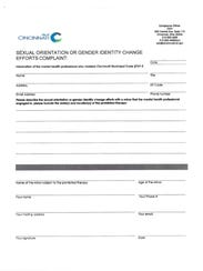 The City of Cincinnati's complaint form for conversion