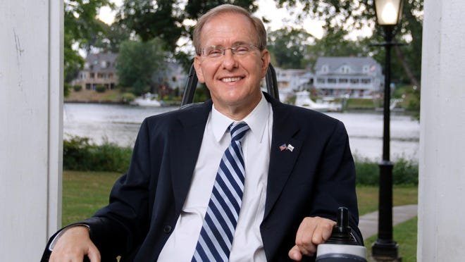 Congressman Jim Langevin at Pawtuxet Park last month.