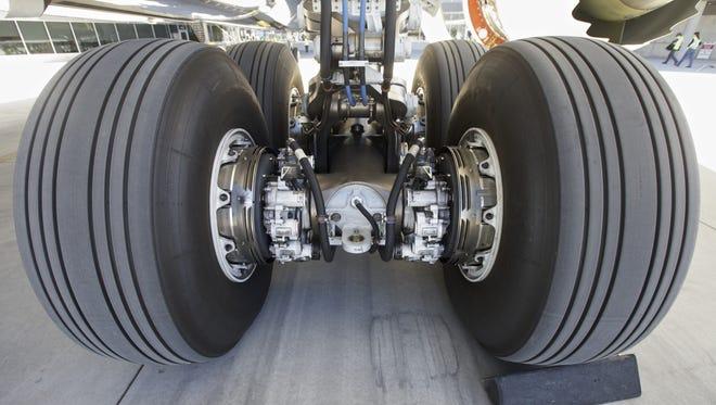 The landing gear of an Air New Zealand Boeing 787-9 Dreamliner.