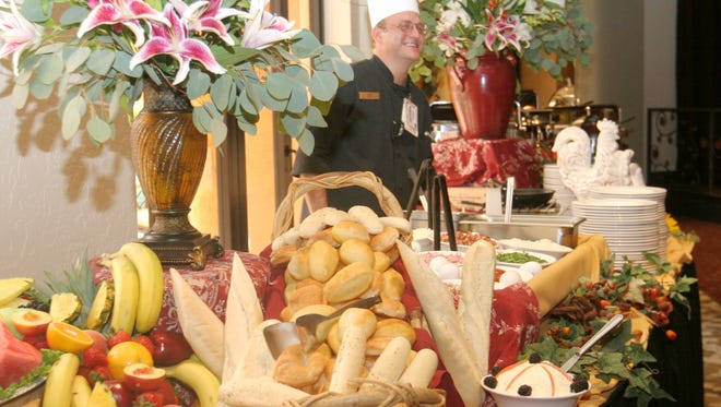 A large variety of fruits, breads and breakfast await hungry visitors at the Verona Chophouse inside the Lone Butte Casino in Chandler.