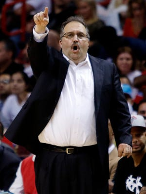 Detroit Pistons coach Stan Van Gundy works against the Miami Heat on March 29, 2015, in Miami.