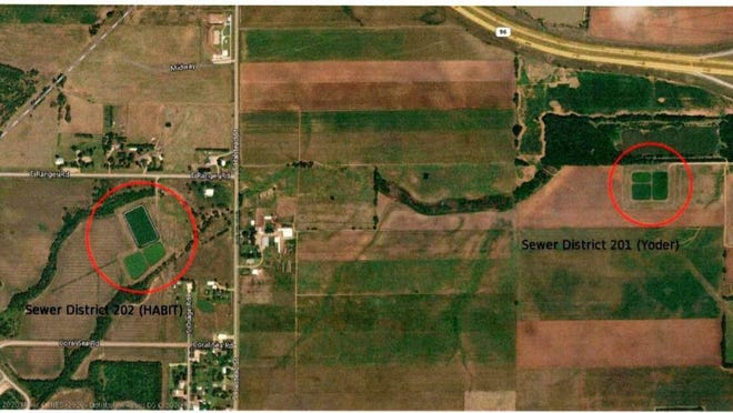 This aerial photos shows locations of the Yoder and HABIT sewer districts. Both need upgraded and county officials are exploring the cheapest options.