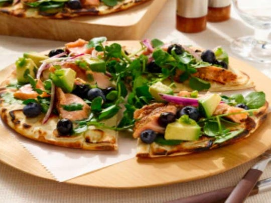 Grilled Salmon Flatbread with Fresh Blueberry Salsa
