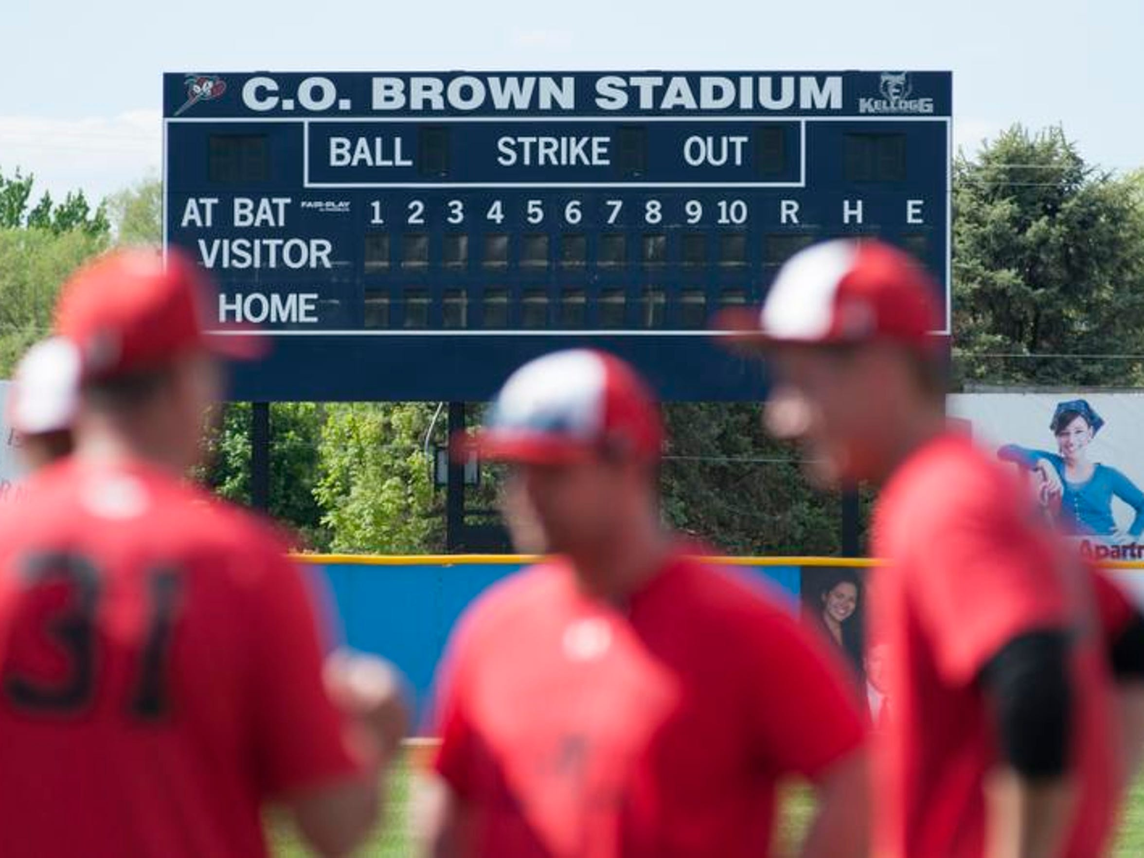 A look at the new scoreboard at C.O. Brown Stadium.