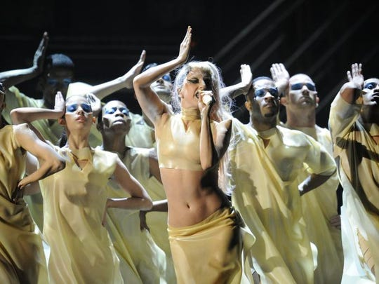 Lady Gaga performs in Los Angeles at the 2011 Grammy Awards.