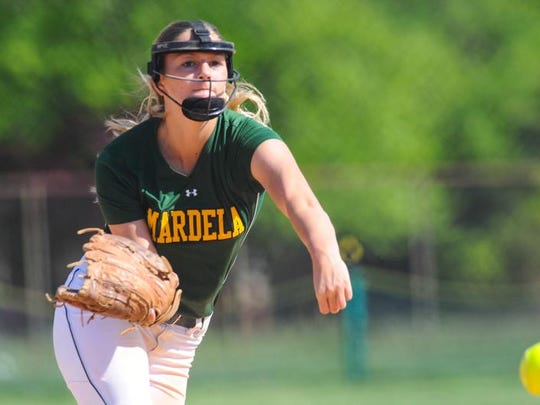 Mardela pitcher Taylor Harcum throws to an Easton batter during the Bayside Championship game.