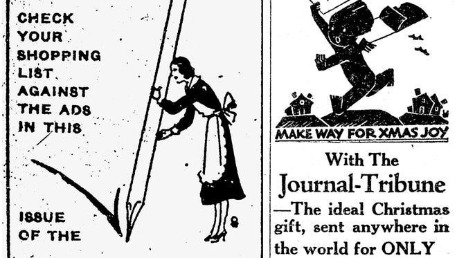 Two front-page ads in a 1932 Mesa-Journal Tribune, along with an editorial highlighted the importance of supporting the paper and local businesses at the height of the Depression.