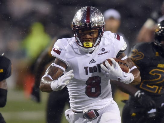 Troy receiver Emanuel Thompson finished four catches