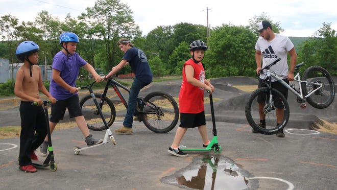 From left: Gary McElroy, 8; Jamison Stroud, 10; Kevin Neuwirth, 17; Cody Lucas, 10; and Ryan Branning, 17, get ready to roll at the Port Jervis pump track.