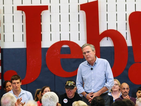 Republican presidential candidate, former Florida Gov. Jeb Bush pauses for applause while speaking at a town hall meeting in Salem, N.H., Thursday, Sept. 10, 2015.