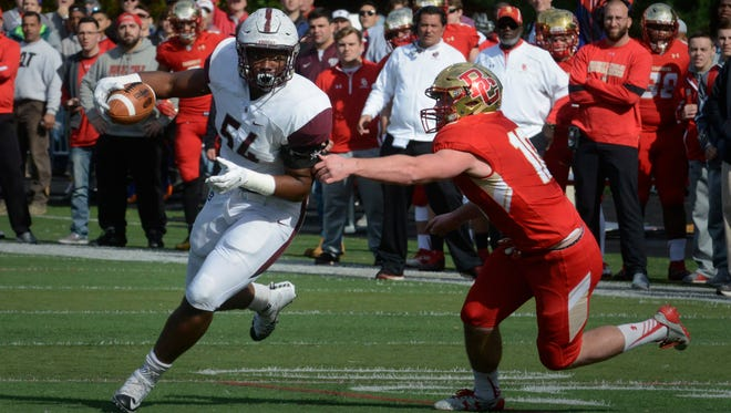From 2016:  Don Bosco lineman Tyler Friday intercepts a pass against Bergen Catholic.