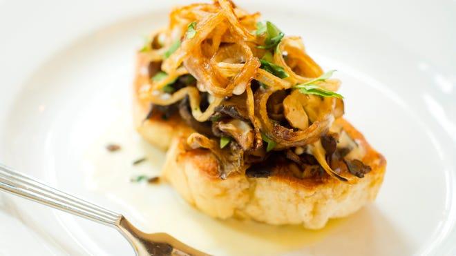 Mushroom Bruschetta, Taleggio Fonduta, Crispy Shallots, at L'Amante, 126 College St. in downtown Burlington.