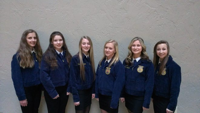 Reedsville FFA members, from left, Maddie Nimocks, Charlotte Ross, Randi Kasten, Maddy Anhalt, Claire Bubolz and Kayla Brey attended the national 212 leadership conference.