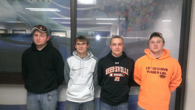 The Reedsville FFA recently competed in the dairy foods, farm business management and wildlife conservation judging career development events at UW-Madison. The FFA Wildlife Team Consisted of Alex Klemish, Erik Fogeltanz, Sam Eiles and Riley Kasper.
