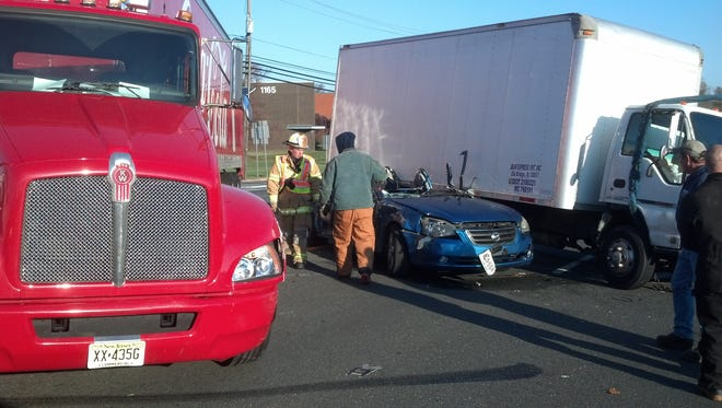 A South River woman had to be extricated from her car in a crash in South Brunswick.