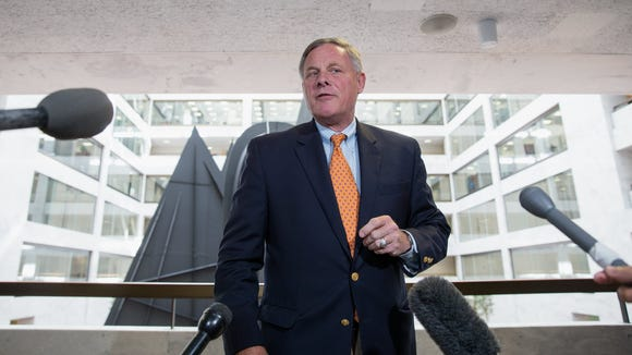 Sen. Richard Burr speaks to the media after a closed-door briefing on intelligence matters on May 25, 2017.
