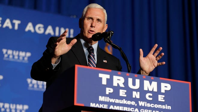 Republican vice presidential candidate Indiana Gov. Mike Pence speaks to Republican supporters.