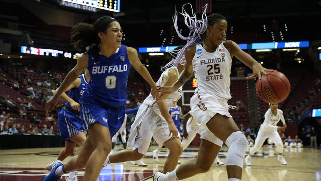 FSU's Ama Degbeon dribbles the ball during the Noles' 86-65 loss to the Buffalo Bulls in the second round of the NCAA Tournament at the Tucker Civic Center Monday.
