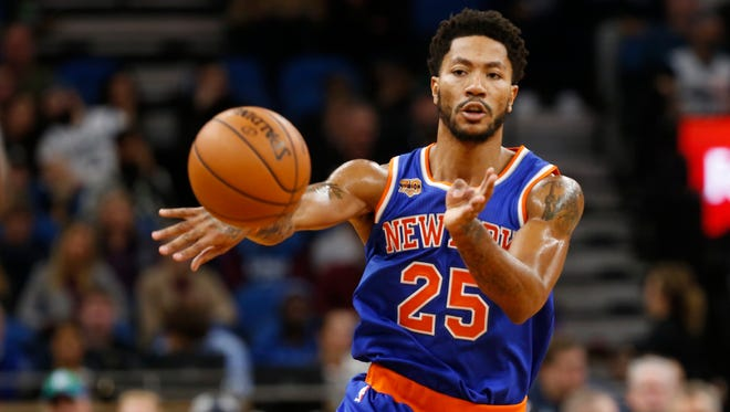 Knicks' Derrick Rose has missed four of the team's last six games, playing just 10 minutes in another, due to back spasms.