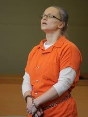 Angelika Graswald stands during her sentencing in Goshen
