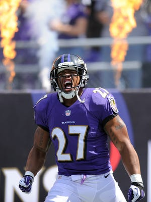 Baltimore Ravens running back Ray Rice yells during his introduction before a game Sept. 15, 2013.