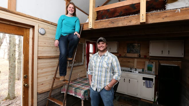 Ethan Van Kooten and Amy Andrews, both environmental studies students at Central College, built a tiny house for a school project near Van Kooten's parents home in Pella. The house comes with a loft, a kitchen and a wood-burning stove.