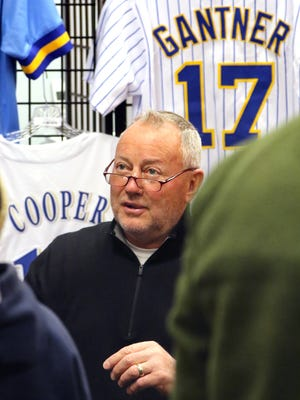 Fans stopped in E-5 Sports, a new West Allis sports memorabilia store, for autographs and photos with former Brewer Jim Gantner on April 14.