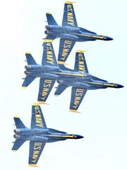 The Pensacola Blue Angels perform during their first practice of the season March 28, 2018.