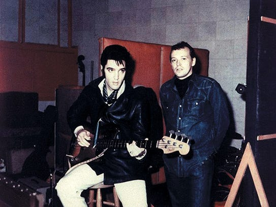 Elvis Presley and Chips Moman, producer of the King's