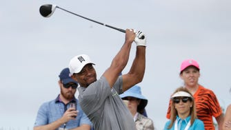 Tiger Woods tees off on the fourth hole during Round 3 of the Hero World Challenge.