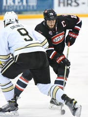 St. Cloud State's Ethan Prow makes a quick turn with