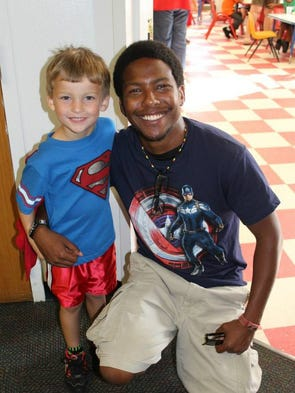 This is Rex, a Super Kid, with Mr. Frank, his Super Teacher at the Pensacola State College Child Development Center's VPK. The theme for VPK is Superheroes! Looking forward to a year of fun and learning some Super Skills! (Rex is 4...)