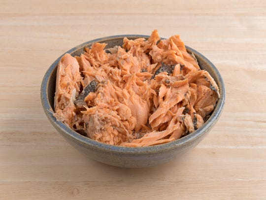 Pacific canned pink salmon.