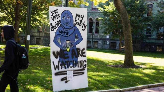 """Part of the """"Your Body, Your Vote"""" installation and anti-Trump protest at U Penn."""