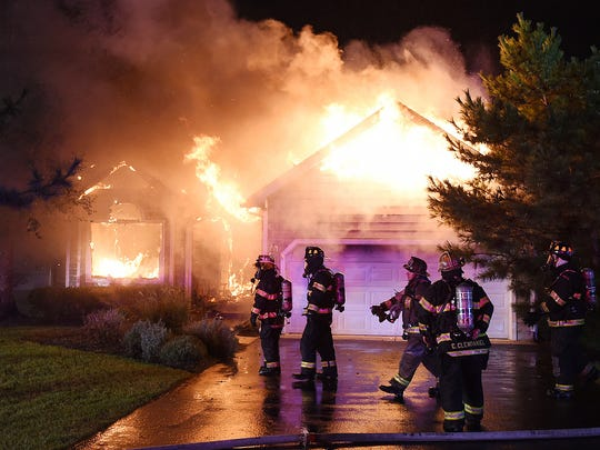 Firefighters from Lewes, Rehoboth Beach, Milton, Slaughter