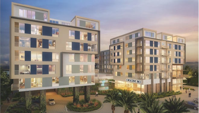 A rendering of the proposed Crescent Rio apartments, which would include more than 350 units on First Street east of Hardy Drive in Tempe.